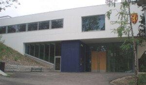 Riksarkivbygningen inngangsparti